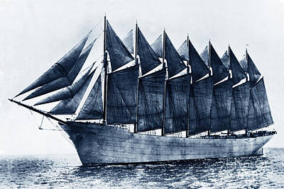 Thomas W. Lawson Seven-masted Schooner 1902 Poster by California Views Mr Pat Hathaway Archives