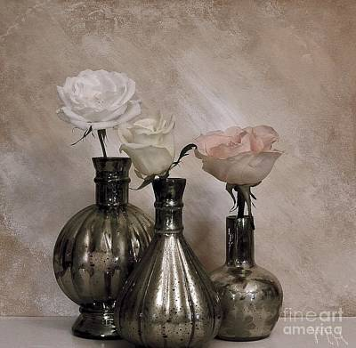 Three Antique Roses In Mercury Glass Poster by Marsha Heiken