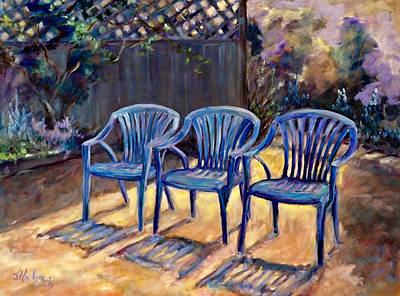 Three Blue Chairs Poster by Jean Groberg