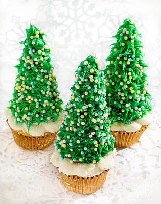Three Christmastree Cupcakes  Poster by Iris Richardson