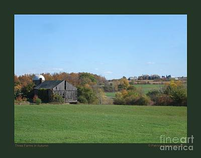 Three Farms In Autumn Poster by Patricia Overmoyer