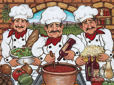 Three Happy Chefs Poster by Janet  Kruskamp