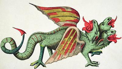 Three Headed Dragon Spitting Fire Poster by German School