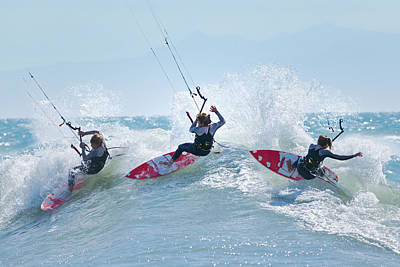 Three Kitesurfers In Water Tarifa Poster by Ben Welsh