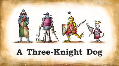 Three Knight Dog Poster by Mark Armstrong