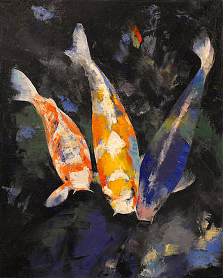 Three Koi Fish Poster by Michael Creese