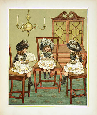Three Little Girls Sitting On Chairs Poster by British Library