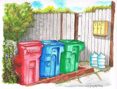 Three Mail Boxes And Three Trash Cans In West Hollywood - California Poster by Carlos G Groppa
