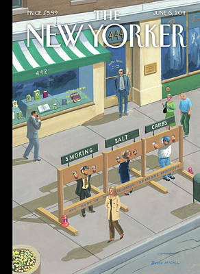 Three People In Stocks Which Read: Smoking Poster by Bruce McCall