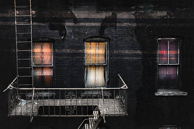 Three Windows And Ladder - As Seen From The Manhattan Bridge Poster by Gary Heller