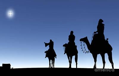Three Wise Men Following A Star Poster by Kim Freitas
