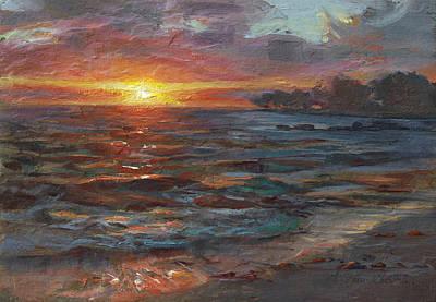 Through The Vog - Hawaii Beach Sunset Poster by Karen Whitworth