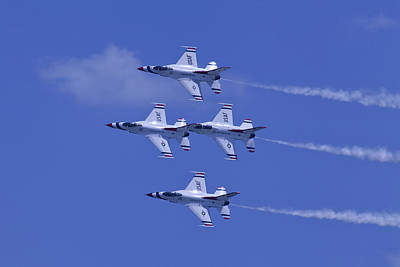 Thunderbirds Diamond Formation Topsides Poster by Donna Corless