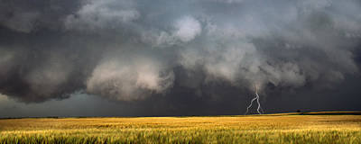 Thunderstorm Advancing Over A Field Poster by Panoramic Images