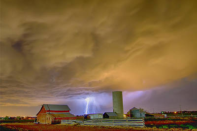 Thunderstorm Hunkering Down On The Farm Poster by James BO  Insogna