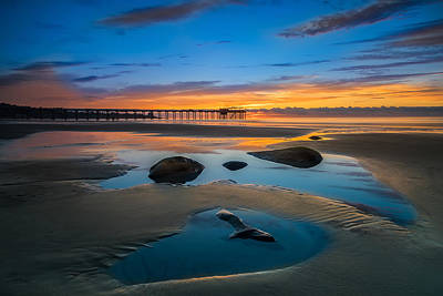 Tide Pool Reflections At Scripps Pier Poster by Larry Marshall