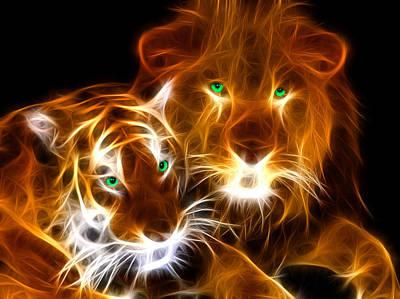 Tiger Lion  Poster by Mark Ashkenazi