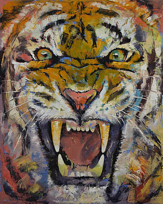 Fangs Poster featuring the painting Tiger by Michael Creese