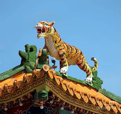 Tiger Sculpture Decorates Chinese Temple Roof Poster by Yali Shi
