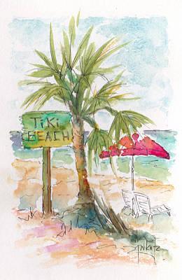 Tiki Beach Grand Cayman Poster by Pat Katz