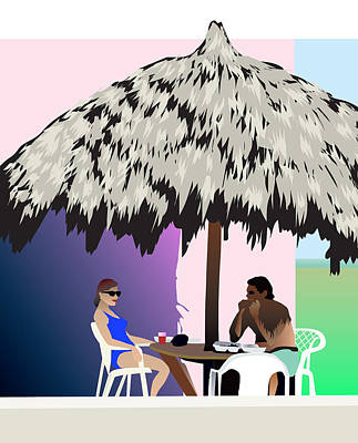 Tiki Hut Art Poster by Robert Korhonen