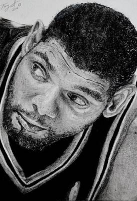 Tim Duncan Drawing The Champ Is Here Poster by Tony Orcutt