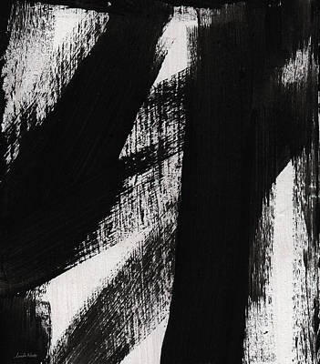Timber- Vertical Abstract Black And White Painting Poster by Linda Woods