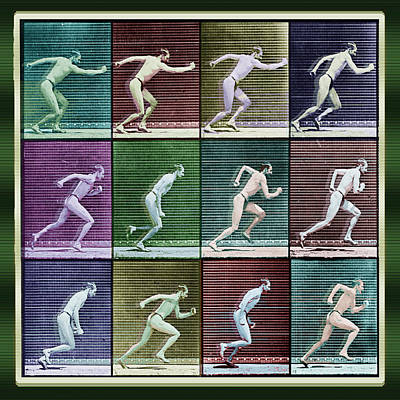 Time Lapse Motion Study Man Running Color Poster by Tony Rubino