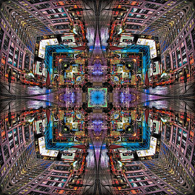 Times Square Mirrored Reflections Poster by Susan Candelario