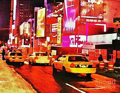 Times Square Near Broadway Poster by Halifax artist John Malone