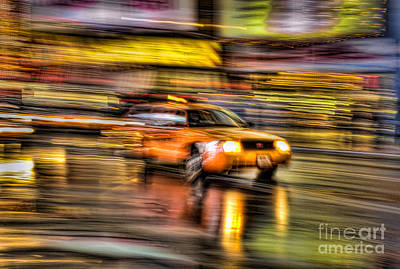 Times Square Taxi I Poster by Clarence Holmes