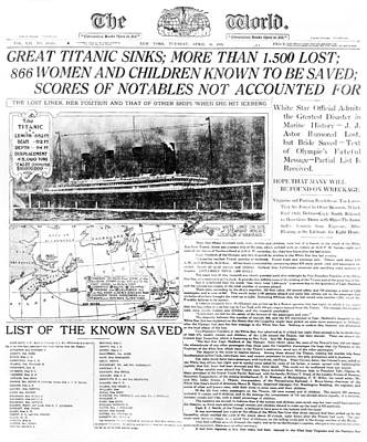 Titanic Sinking Headlines Poster by Underwood Archives