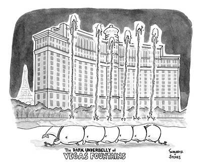 Title The Dark Underbelly Of Vegas Fountains Poster by Benjamin Schwartz