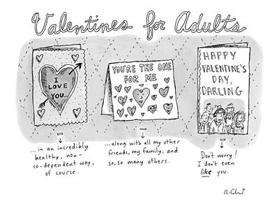 Title Valentines For Adults. Three Valentine's Poster by Roz Chast