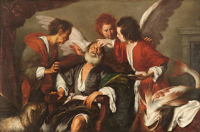 Tobias Curing His Fathers Blindness Poster by Bernardo Strozzi
