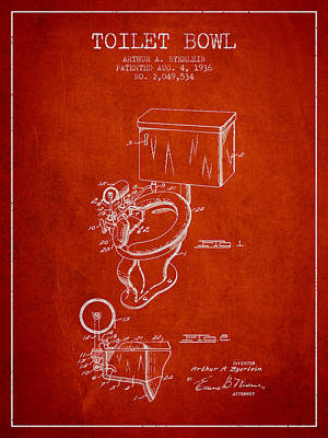 Toilet Bowl Patent From 1936 - Red Poster by Aged Pixel