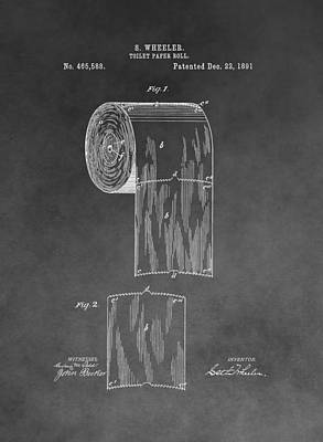 Toilet Paper Roll Patent Drawing Poster by Dan Sproul