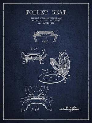 Toilet Seat Patent From 1936 - Navy Blue Poster by Aged Pixel