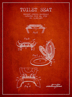 Toilet Seat Patent From 1936 - Red Poster by Aged Pixel