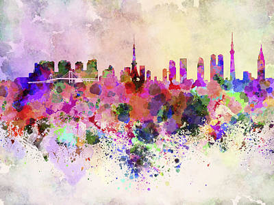 Tokyo Skyline In Watercolor Background Poster by Pablo Romero