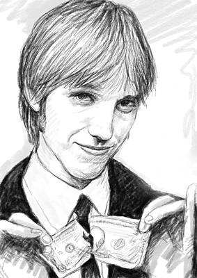 Tom Petty Art Drawing Sketch Portrait Poster by Kim Wang