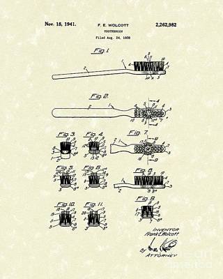 Toothbrush 1941 Patent Art Poster by Prior Art Design