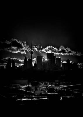 Toronto Canada Skyline At Sunset From The Pape St Bridge Poster by Brian Carson