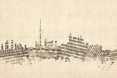 Toronto Canada Skyline Sheet Music Cityscape Poster by Michael Tompsett