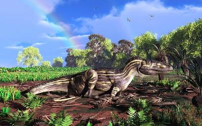 Torvosaurus And Rainbow Poster by Walter Myers