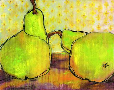 Touching Green Pears Art Poster by Blenda Studio