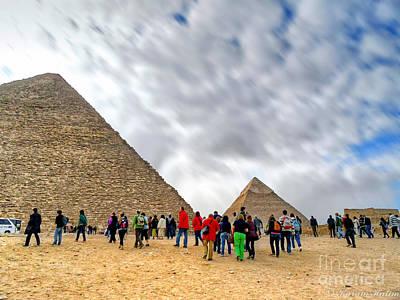 Tourism Fogh At Giza Pyramids  Poster by Karam Halim