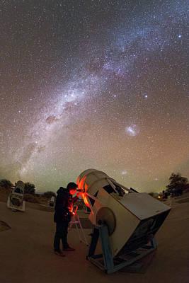 Tourist Using A Telescope Poster by Babak Tafreshi