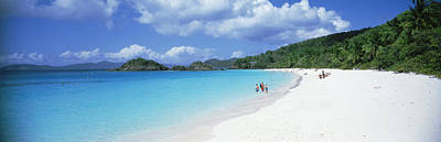 Tourists On The Beach, Trunk Bay, St Poster by Panoramic Images