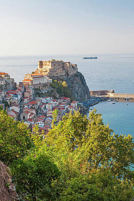 Town View With Castello Ruffo, Scilla Poster by Peter Adams